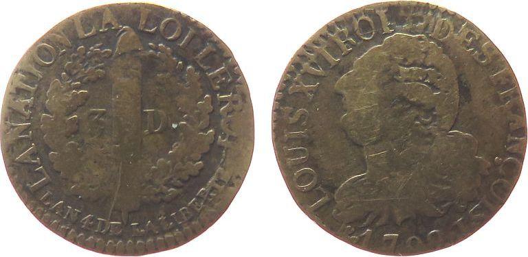 3 Deniers 1792 Frankreich Br Louis XVI, I (Limoges), Typ: Francois schön