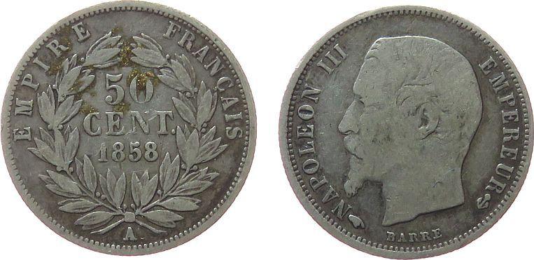 50 Centimes 1858 Frankreich Ag Napoleon III, A (Paris) schön
