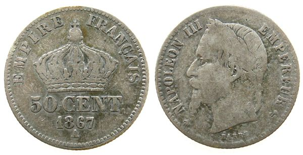 50 Centimes 1867 Frankreich Ag Napoleon III, A (Paris) s-ss