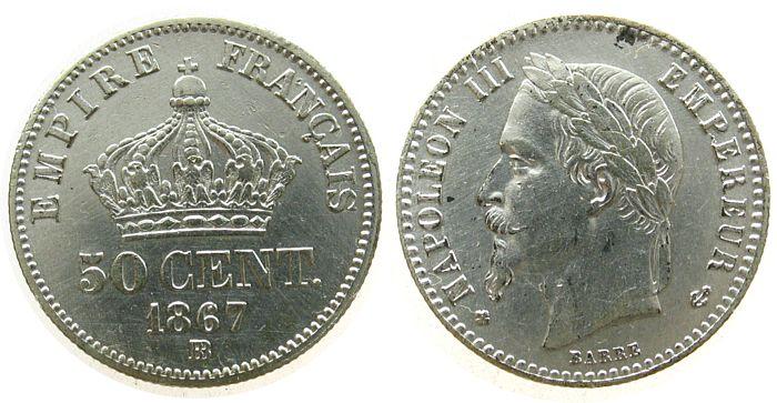 50 Centimes 1867 Frankreich Ag Napoleon III,Mzz: BB (Strasbourg), zaponiert ss-vz