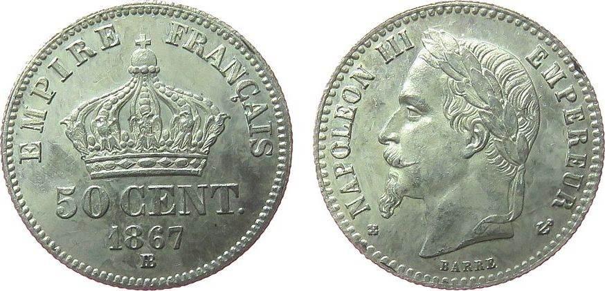 50 Centimes 1867 Frankreich Ag Napoleon III, BB (Strasbourg) vz-unc