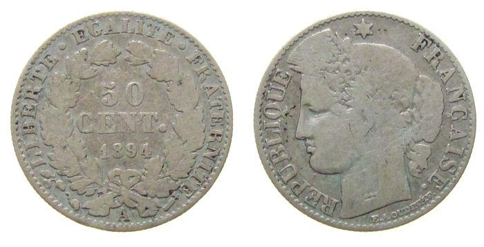 50 Centimes 1894 Frankreich Ag Ceres, A (Paris) fast schön