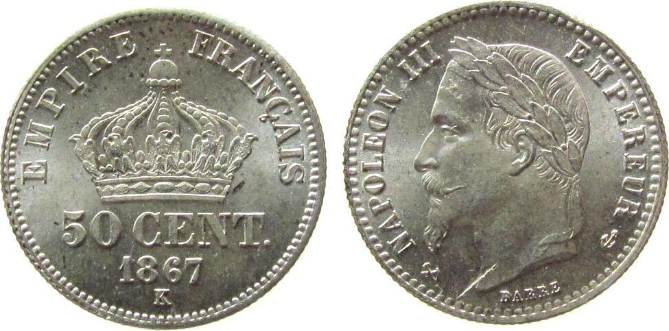 50 Centimes 1867 Frankreich Ag Napoleon III, K (Bordeaux), winziger Randfehler stgl