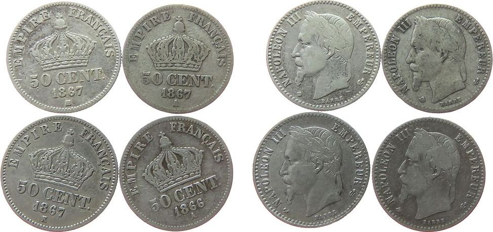 4 x 50 Centimes 1866 - 67 Frankreich Ag Napoleon III, 1866 A, 1867 A-BB-K fast ss