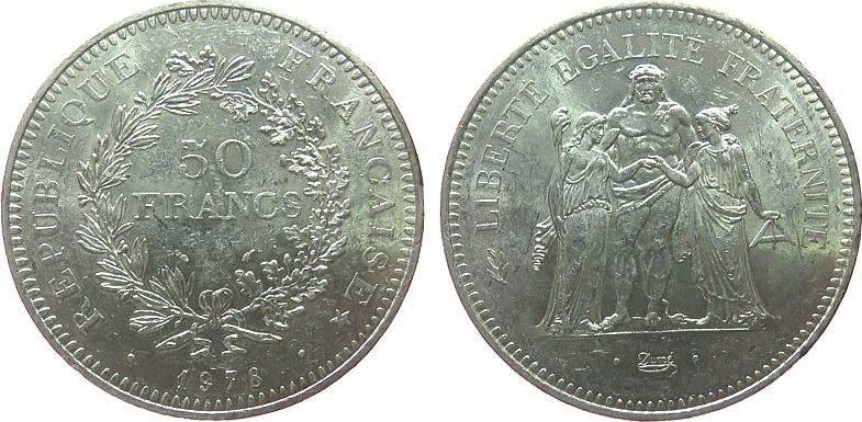 50 Francs 1978 Frankreich Ag Herkulesgruppe ss