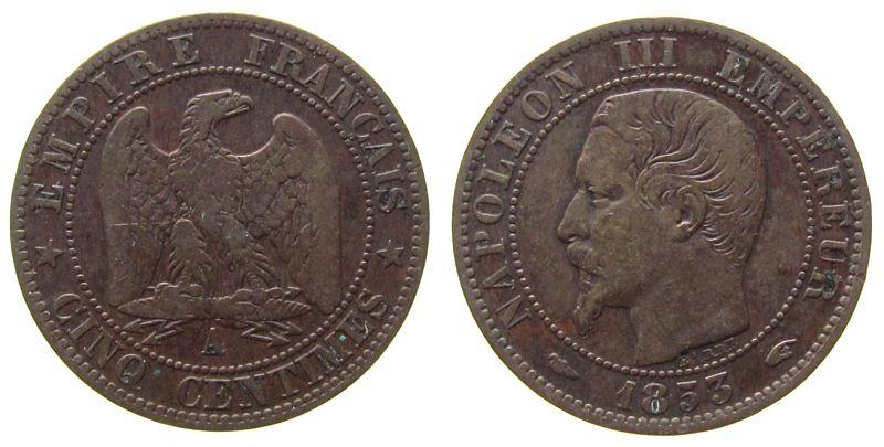 5 Centimes 1853 Frankreich Br Napoleon III, A (Paris) ss