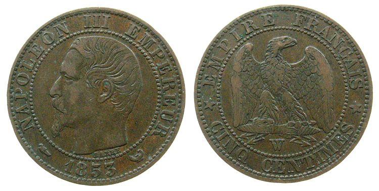 5 Centimes 1853 Frankreich Br Napoleon III,Mzz: W ss