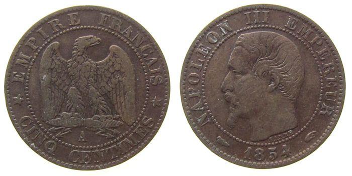 5 Centimes 1854 Frankreich Br Napoleon III, A (Paris) ss