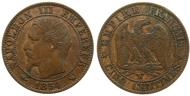 5 Centimes 1854 Frankreich Br Napoleon III,Mzz: W ss-vz