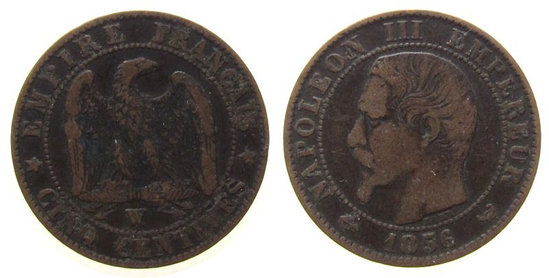 5 Centimes 1856 Frankreich Br Napoleon III, W (Lille) fast ss