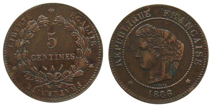 5 Centimes 1886 Frankreich Br Ceres, A (Paris) ss