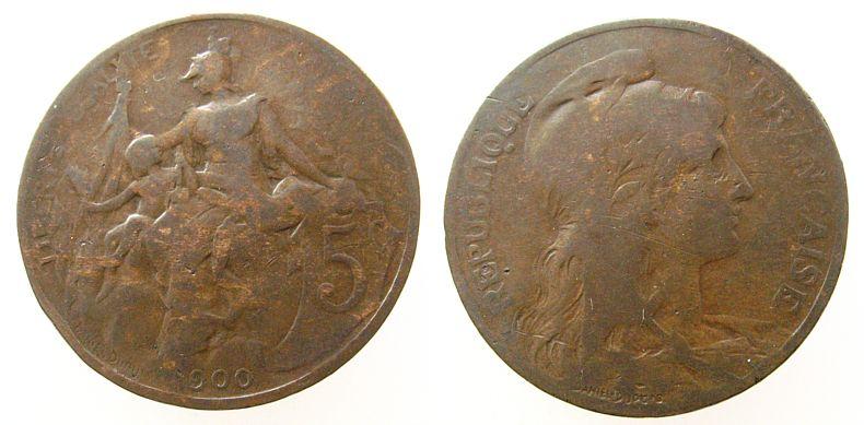 5 Centimes 1900 Frankreich Br Schön 183, nur 900 statt 1900 geprägt schön