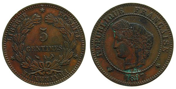 5 Centimes 1897 Frankreich Br Ceres, A, Gad.157a ss