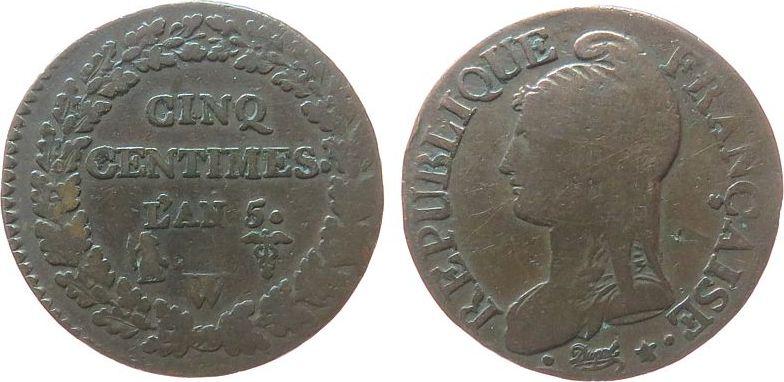 5 Centimes 1795-1799 An 5 Frankreich Br Directoire, W (Lille) schön