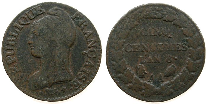 5 Centimes 1795-1804 An 8 Frankreich Br Directoire et Consulat, AA ss-