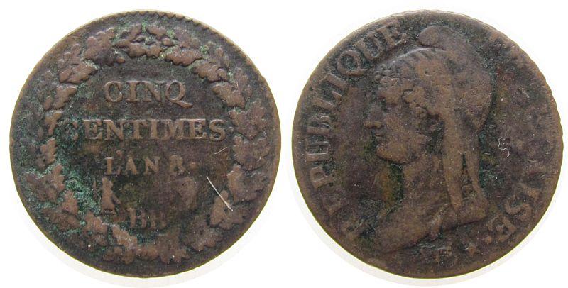 5 Centimes 1795-1804 An 8 Frankreich Br Directoire et Consulat, BB (Strasbourg) schön