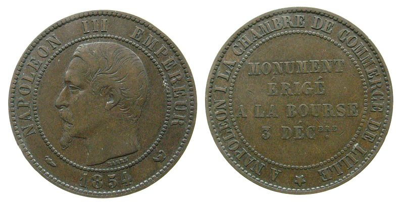 5 Centimes 1854 Frankreich Br Napoleon III, Münzbesuch in Lille ss