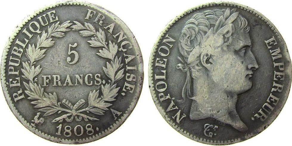 5 Francs 1808 Frankreich Ag Napoleon Empereur, A (Paris) fast ss