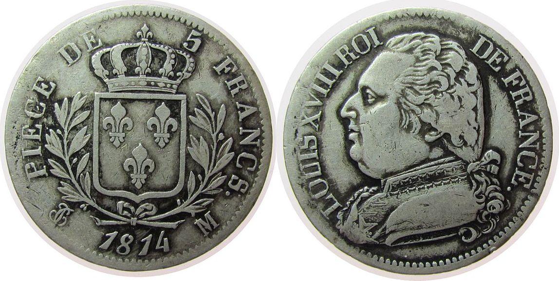 5 Francs 1814 Frankreich Ag Louis XVIII, M (Toulouse) ss-