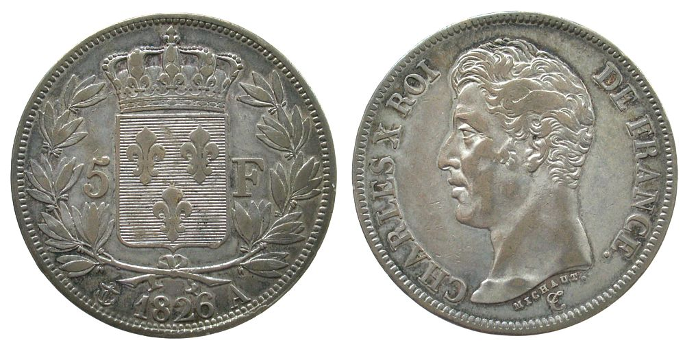 5 Francs 1826 Frankreich Ag Charles X, A (Paris) ss