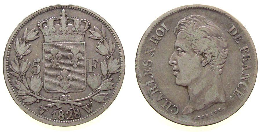 5 Francs 1828 Frankreich Ag Charles X, W (Lille) ss