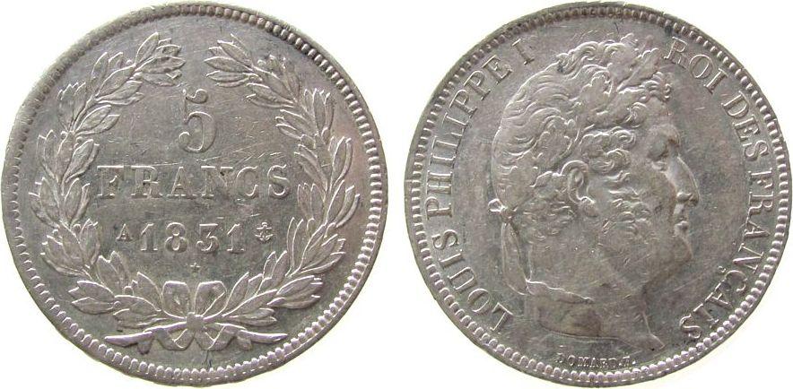 5 Francs 1831 Frankreich Ag Louis Philippe I, A (Paris) ss+