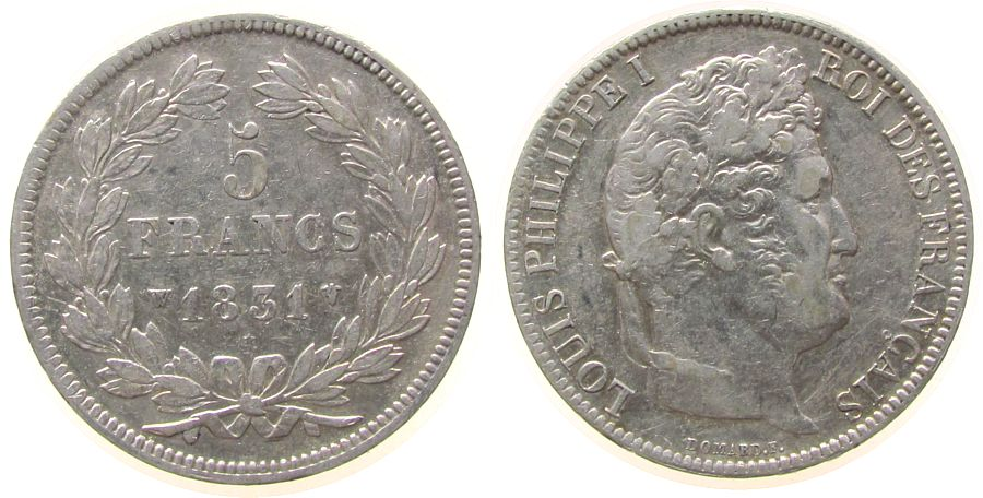 5 Francs 1831 Frankreich Ag Louis Philippe I, W (Lille) ss