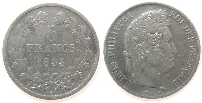 5 Francs 1833 Frankreich Ag Louis Philippe I, W (Lille) fast ss