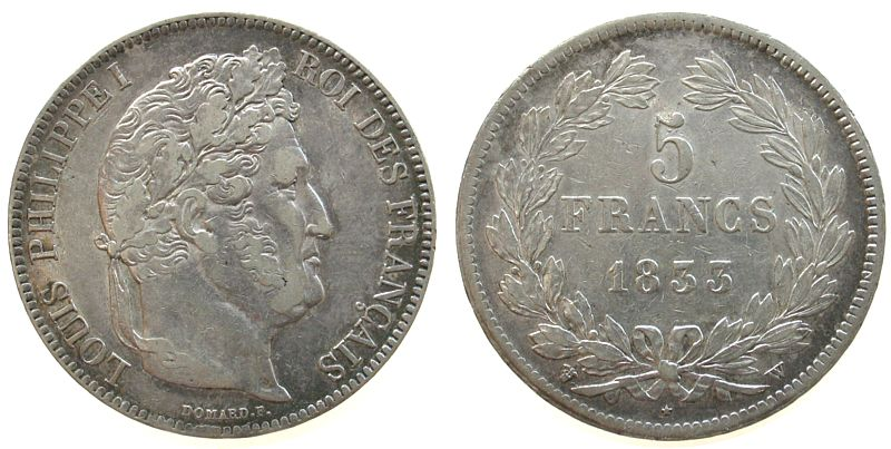 5 Francs 1833 Frankreich Ag Louis Philippe I, W (Lille) ss