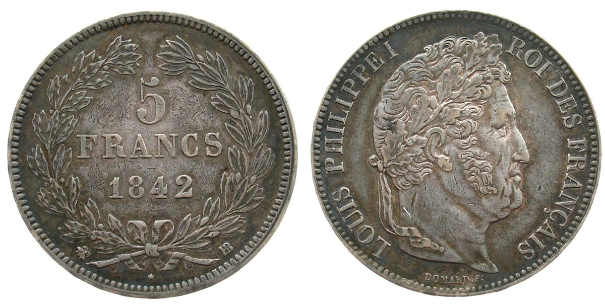 5 Francs 1842 Frankreich Ag Louis Philippe I, BB (Strasbourg) ss+