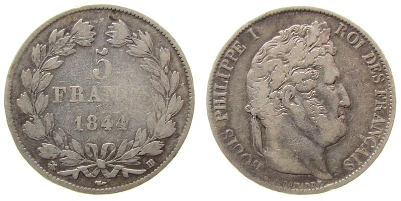 5 Francs 1844 Frankreich Ag Louis Philippe I, BB (Strasbourg) fast ss