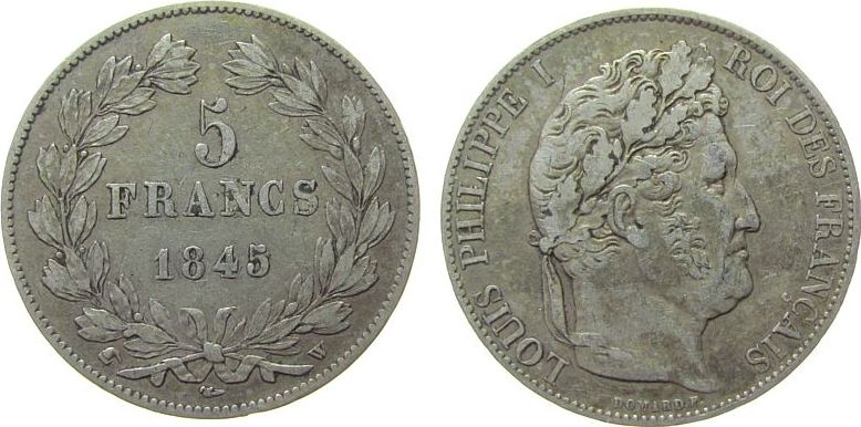 5 Francs 1845 Frankreich Ag Louis Philippe I, W (Lille) ss