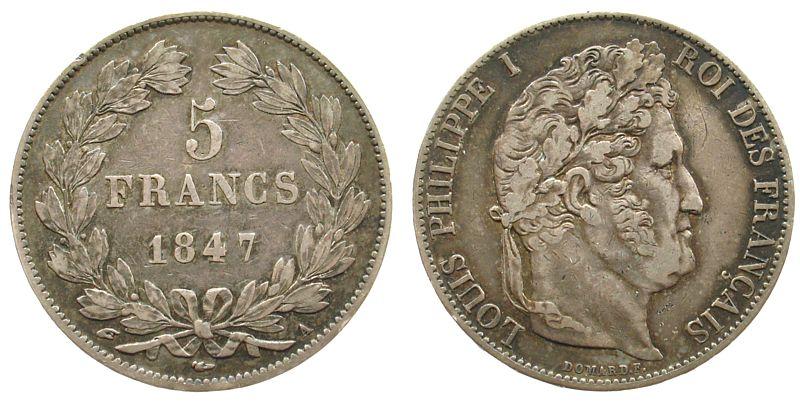 5 Francs 1847 Frankreich Ag Louis Philippe I, A (Paris) ss