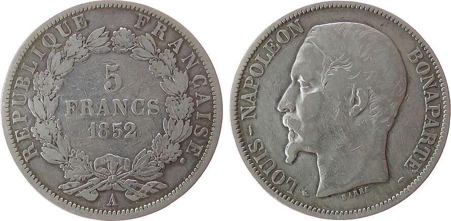 5 Francs 1852 Frankreich Ag Louis Napoleon, A (Paris) fast ss