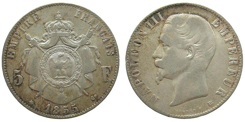 5 Francs 1855 Frankreich Ag Napoleon III, tête nue, BB (Strasburg) s+