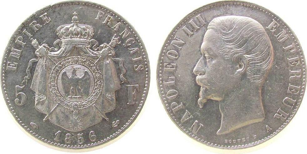 5 Francs 1856 Frankreich Ag Napoleon III, A (Paris), kleiner Randfehler ss-vz