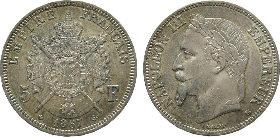 5 Francs 1867 Frankreich Ag Napoleon III, BB (Straßburg) vz