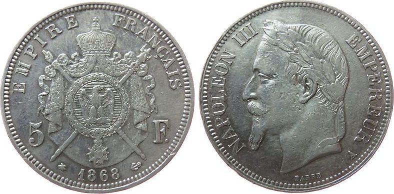 5 Francs 1868 Frankreich Ag Napoleon III, A (Paris), kleine Randfehler ss+