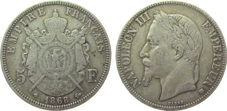 5 Francs 1868 Frankreich Ag Napoleon III, BB (Straßburg) ss