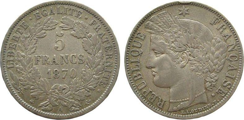 5 Francs 1870 Frankreich Ag Ceres, Dritte Republik, A (Paris), Randstoß ss
