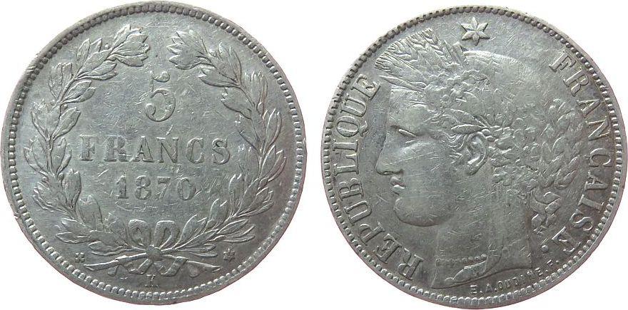 5 Francs 1870 Frankreich Ag Ceres, Dritte Republik, K (Bordeaux), kleine Randfehler, Le Franc 332/5 ss