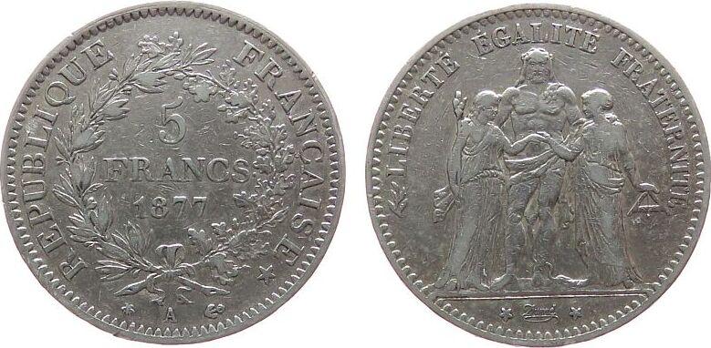 5 Francs 1877 Frankreich Ag Herkulesgruppe, A (Paris), kleine Randfehler ss