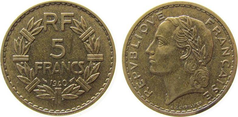 5 Francs 1940 Frankreich AlBr Lavrillier, zaponiert, Gad. 761 ss-vz
