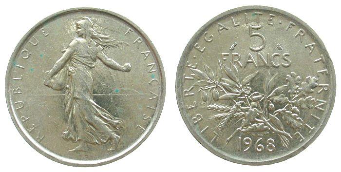 5 Francs 1968 Frankreich Ag Semeuse, kleiner Randstoß, etwas Grünspan vz