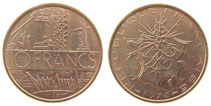 10 Francs 1974 Frankreich NiMs Industrieanlage vz-unc