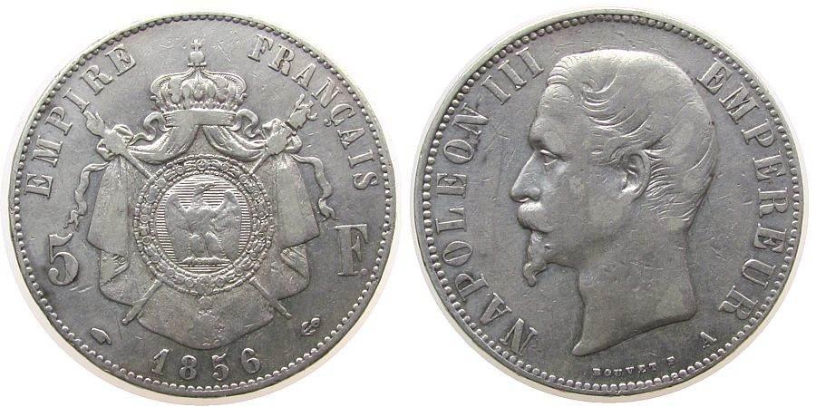 5 Francs 1856 Frankreich Ag Napoleon III, A (Paris) ss