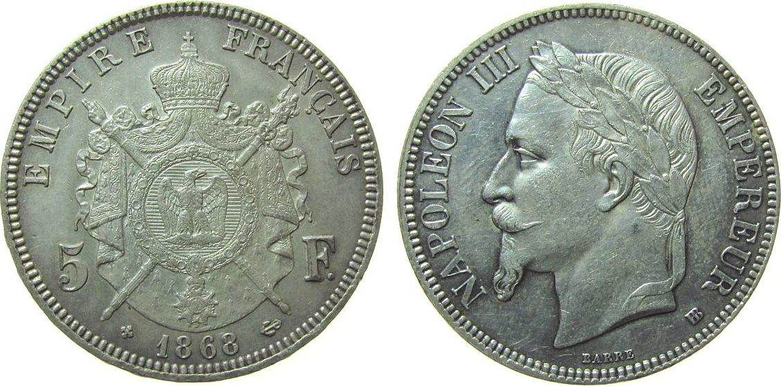 5 Francs 1868 Frankreich Ag Napoleon III, BB (Straßburg) vz+