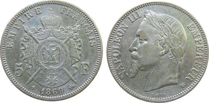 5 Francs 1869 Frankreich Ag Napoleon III, BB (Strasbourg) ss+