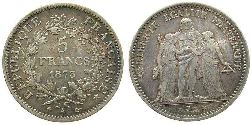 5 Francs 1873 Frankreich Ag Herkulesgruppe, A (Paris) ss-vz