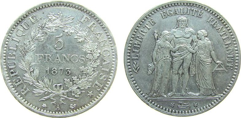5 Francs 1873 Frankreich Ag Herkulesgruppe, A (Paris) vz+